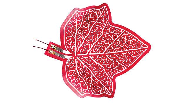 Bild 1. Mit organischen Solarzellen lassen sich dünne Folien auch dekorativ bedrucken, wie diese OPV-Zelle in Blattform zeigt.
