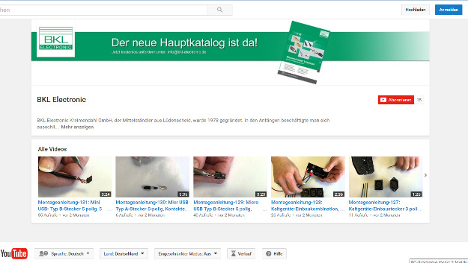 Montagevideos von BKL-Electronic auf YouTube.