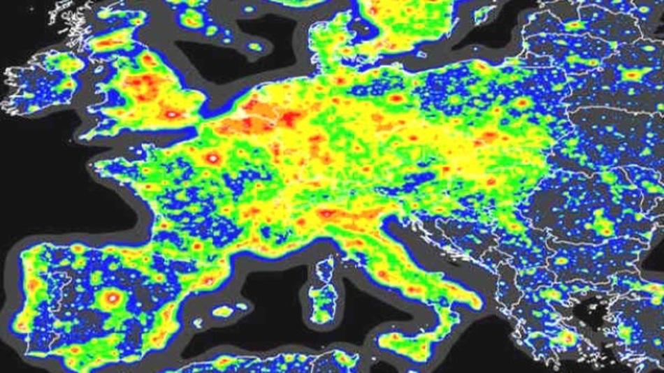 Die Lichtverschmutzung in Europa.