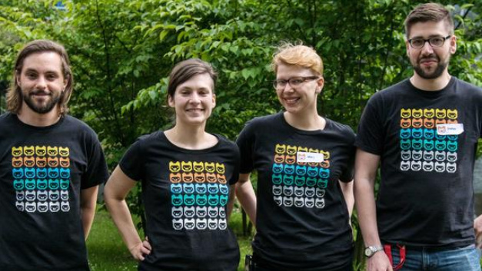 Die Organisatoren von »Jugend hackt Süd« von links: Christian van Onzenoodt, Juliane Wessalowski, Maria Aufheimer und Stefan Kaufmann.