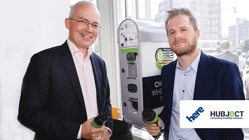 Michael Bültmann, Geschäftsführer Here Deutschland (links) und Thomas Daiber, Geschäftsführer Hubject beim Kooperationsbeschluss.