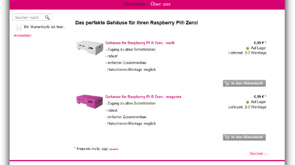 Bereits in der Kurzübersicht ist erkennbar, wie schnell ein Raspberry-Pi-Gehäuse verfügbar ist.