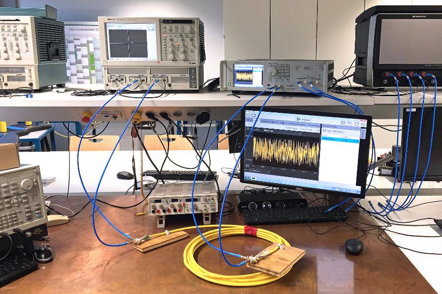 Messaufbau zum Nachweis der 100-GBit/s-Übertragung