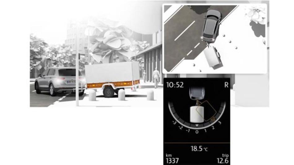 Das Fahrzeug mit Hänger zu parken, ist kein Kinderspiel. Das Fahrerassistenzsystem Trailer Assist von Volkswagen erleichtert den Vorgang.