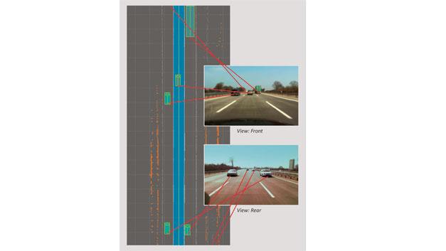 Bild 1. Die Visualisierung der Lidar-Signale zeigt Verkehrsteilnehmer und Fahrspurinformationen, die durch die Laserscanner detektiert werden.