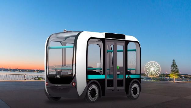 Olli, der Bus aus dem 3D-Drucker, kann bequem über eine App gerufen werden und fährt selbstständig zum gewünschten Zielort.