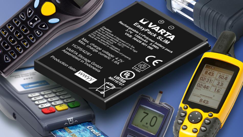 """5,2 mm dünn ist der Li-Ionen-Akku """"EasyPack SLIM"""" mit einer Kapazität von 1,59 Ah."""