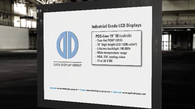 Eine Langzeitverfügbarkeit von mehr als 5 Jahren garantiert Distec für das industrielle 19-Zoll-PCAP-Touch-Display mit einer Helligkeit von 1200 cd/m2.