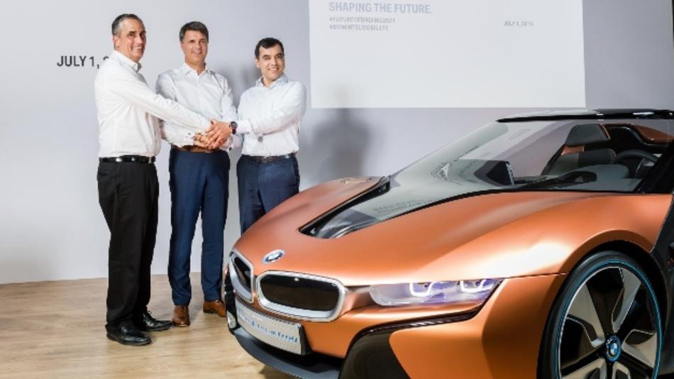 Brian Krzanich, CEO Intel, Harald Krüger, BMW, Amnon Shashua, Mobileye, bei der offiziellen  Bekanntgabe ihrer Partnerschaft am 01.07.2016.