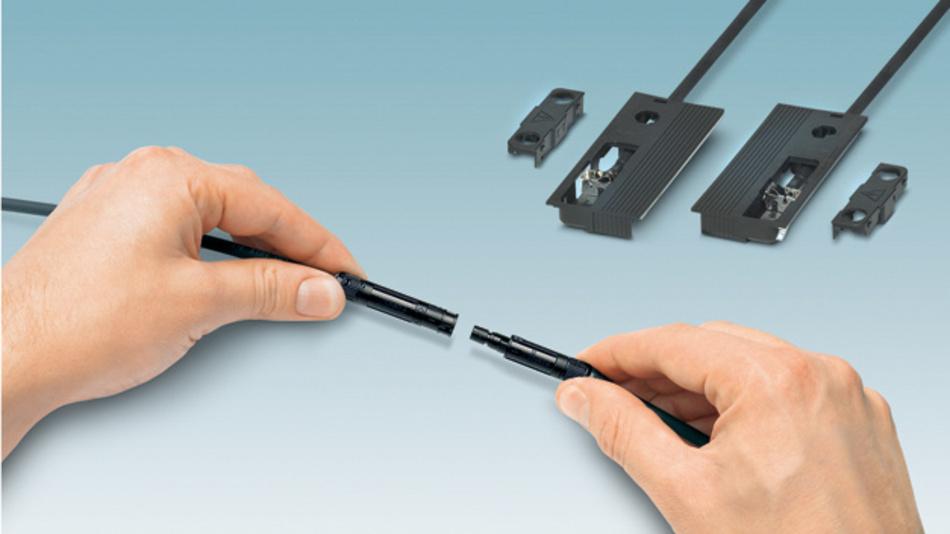 DC-Anschlusstechnik für die bauwerkintegrierte Photovoltaik. Im Vordergrund zu sehen ist der werkzeuglos konfektionierbare DC-Stecker Sunclix mini
