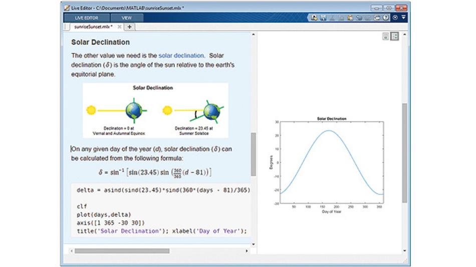 Der Live Editor zeigt die Ergebnisse unmittelbar mit dem Code an, der sie erzeugt hat, um explorative Programmierung und Analysen zu beschleunigen. Durch Hinzufügen von Gleichungen, Bildern, Hyperlinks und formatiertem Text lässt sich die Erzählstruktur verbessern.(