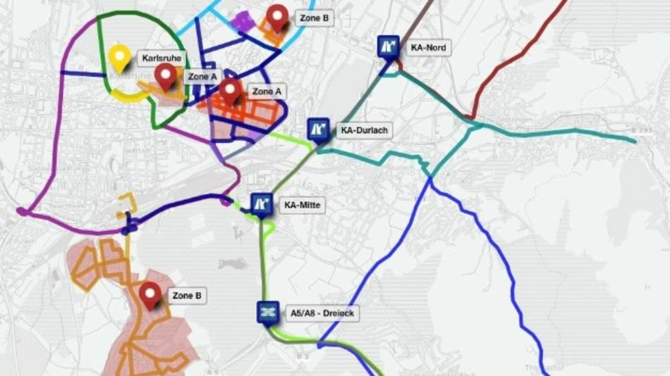 In Stadtvierteln und Strecken in Karlsruhe und Umland sollen automatisiertes und vernetztes Fahren in realen Umgebungen erprobt werden.