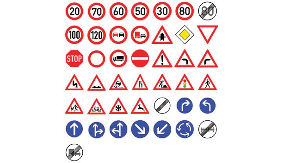 Bild 1. Beispiele für Verkehrszeichen aus dem GTSRB-Datensatz in idealer Darstellung.