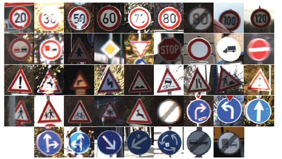 Bild 2. Beispiele für Aufnahmen von GTSRB-Verkehrszeichen mit Beeinträchtigungen.