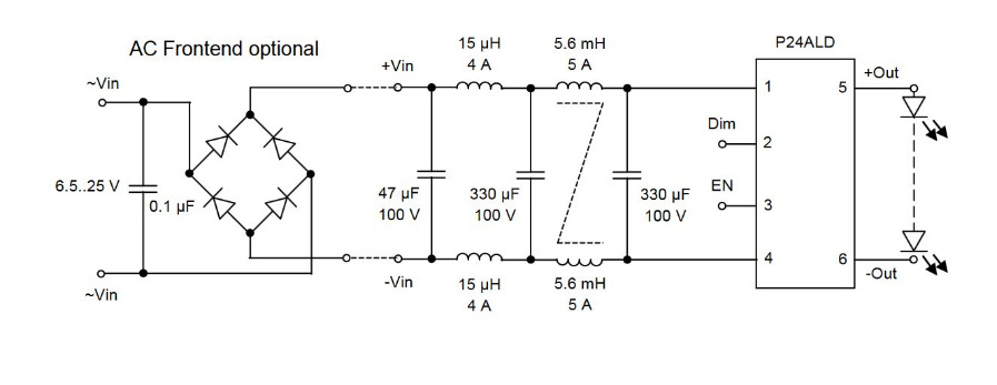 P24ALD mit vorgelagerter Brückengleichrichterschaltung.