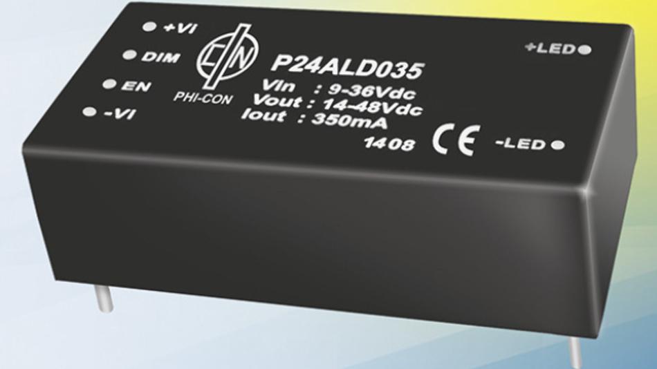 Aufwärtswandler im kompakten Gehäuse (26.1 x 51.5 x 15.8 mm³) und Dimmfunktion.