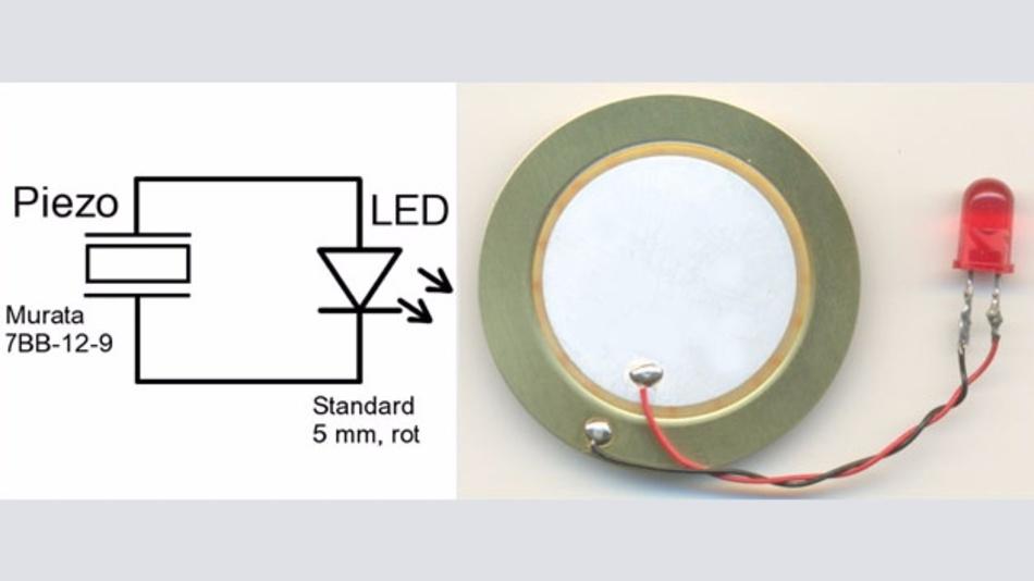 Bild 2: Einfaches Energy Harvesting: Beim Biegen des Piezoelementes (Buzzer) leuchtet die LED kurz auf.