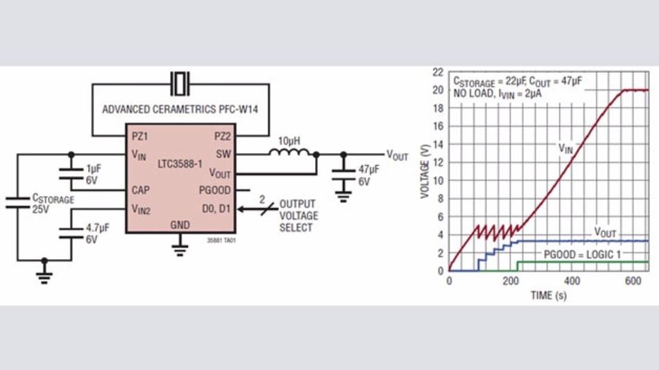 Bild 4: Energy-Harvesting-Schaltung mit einem Piezoelement, wodurch eine konstante Ausgangsspannung von bis 3,6 V generiert werden kann.