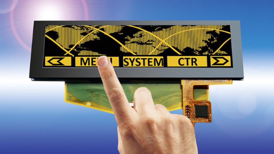 Mit PCAP-Touch und Deckglas gibt es in Kürze Densitrons 3,12 Zoll großes PMOLED-Display mit einer Auflösung von 256x64 Pixel und einem Kontrastverhältnis von 2000:1.