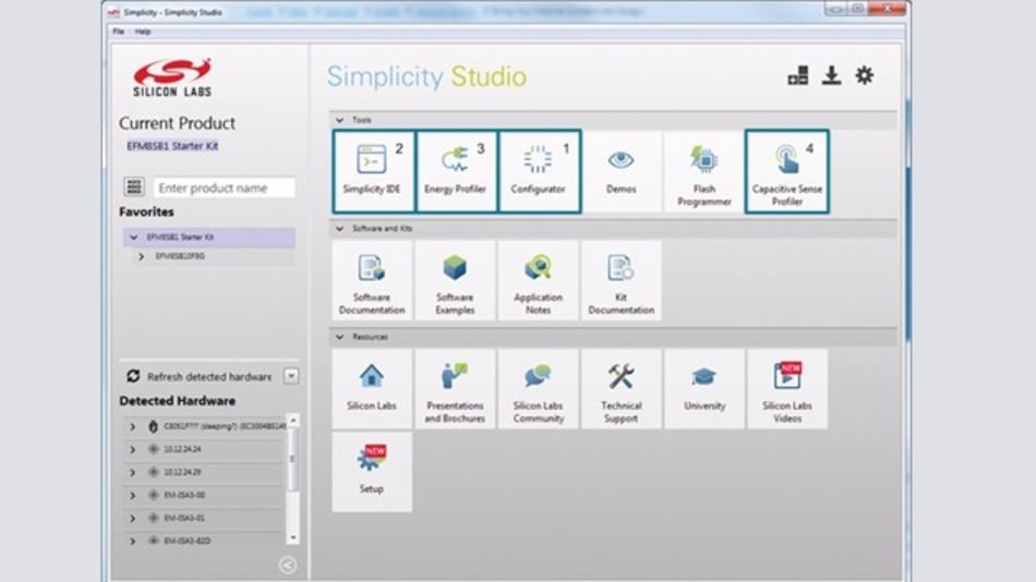 Bild 1: Viele MCU-Anbieter stellen umfassende Entwicklungsumgebungen zur Vereinfachung des 8-bit-Designs für Cap-Sense-Anwendungen zur Verfügung.