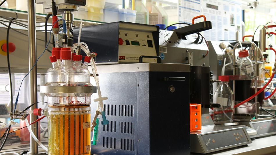 Forscherin baut Reaktor, in dem Bakterien Butanol produzieren.