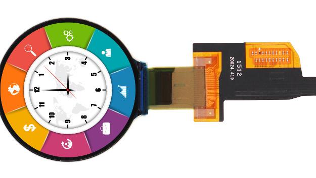 Eine Auflösung von 400x400 Pixel hat DLCs rundes AMOLED-Modul (Vertrieb: Rutronik), das sich auch für industrielle Anwendungen eignet.