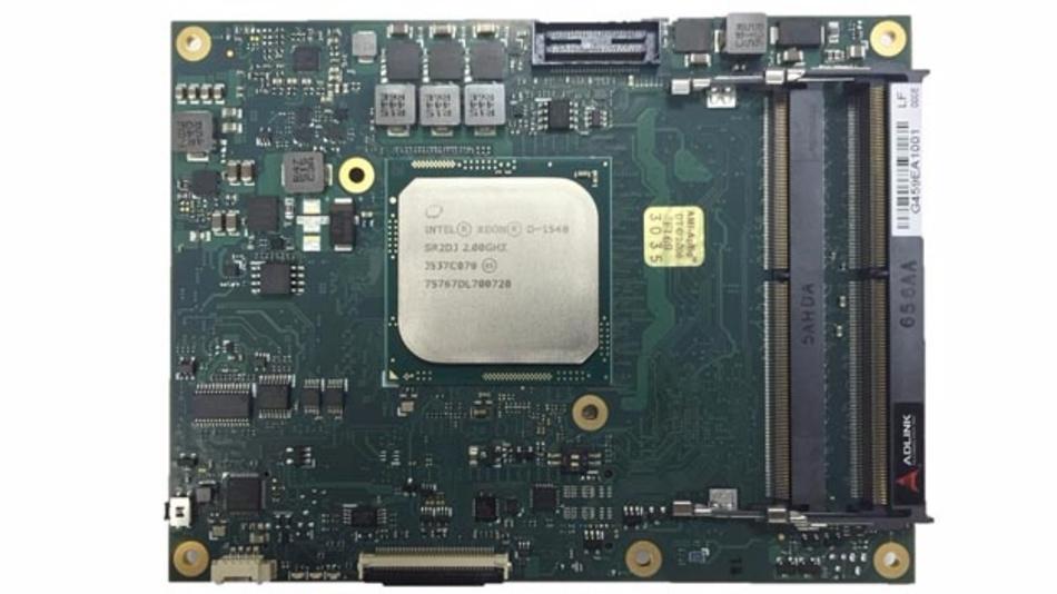 Prototyp eines Computermoduls mit Intel-Xeon-Prozessor und COM-Express-Typ-7-Pinout von Adlink.
