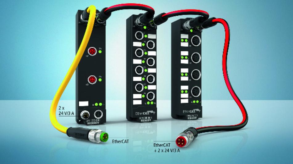 Drei Beispiele für Beckhoffs EtherCAT-P-I/O-Spektrum in IP67: EtherCAT-Sternverteiler, Digital-Eingangs-Box (8-Kanal) und Analog-Eingangs-Box ±10 V / 0-20 mA (4-Kanal).