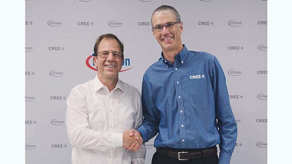 Besiegeln die Übernahme: Dr. Reinhard Ploss, Vorstandsvorsitzender von Infineon, und Chuck Swoboda, Chairman und CEO von Cree.