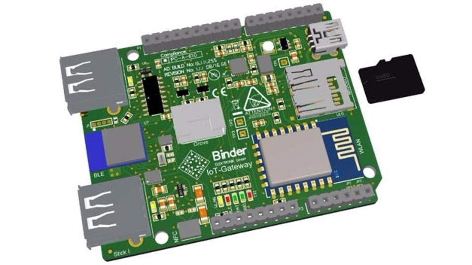 Das Binder IoT-Gateway im Arduino-Formfaktor kann mit Arduino-Shields erweitert werden.