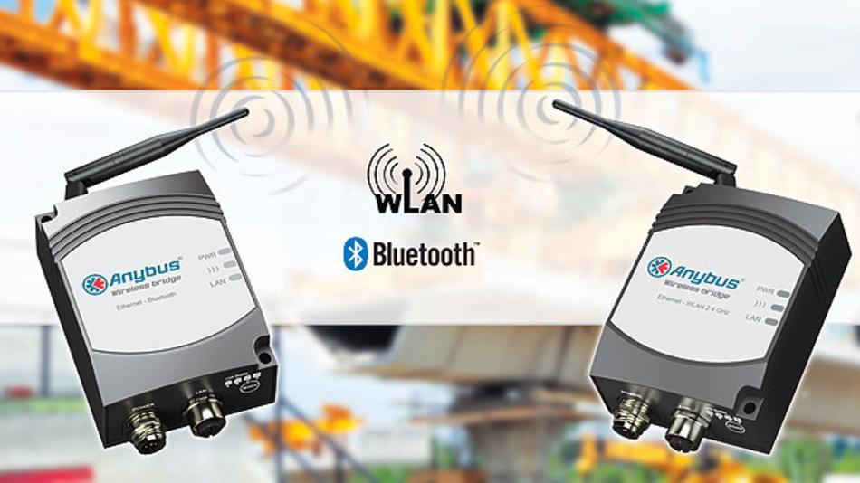 Bild 1. Die Wireless Bridges von HMS ersetzen Datenkabel in mobilen Anwendungen und stellen die Datenübertragung per WLAN und Bluetooth sicher.
