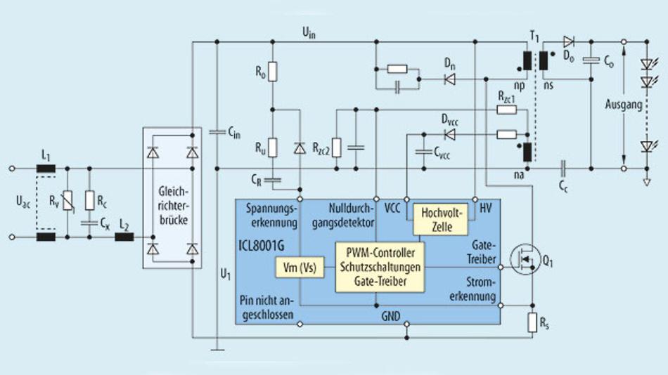Bild 1. Prinzip-Schaltung mit einem LED-Treiber der ersten Generation.