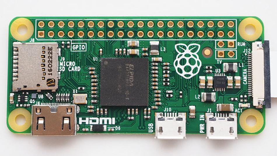 Bild 2. Der Raspberry Pi Zero ist eine mit 65 × 35 mm2 besonders kleine Implementierung des Raspberry Pi – inzwischen allerdings nicht mehr mit der neuesten Prozessorgeneration.