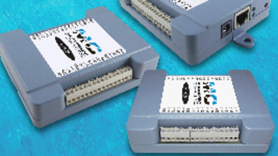 Ethernet-Messmodule von Measurement Computing (MCC) für die DIN-Hutschiene.