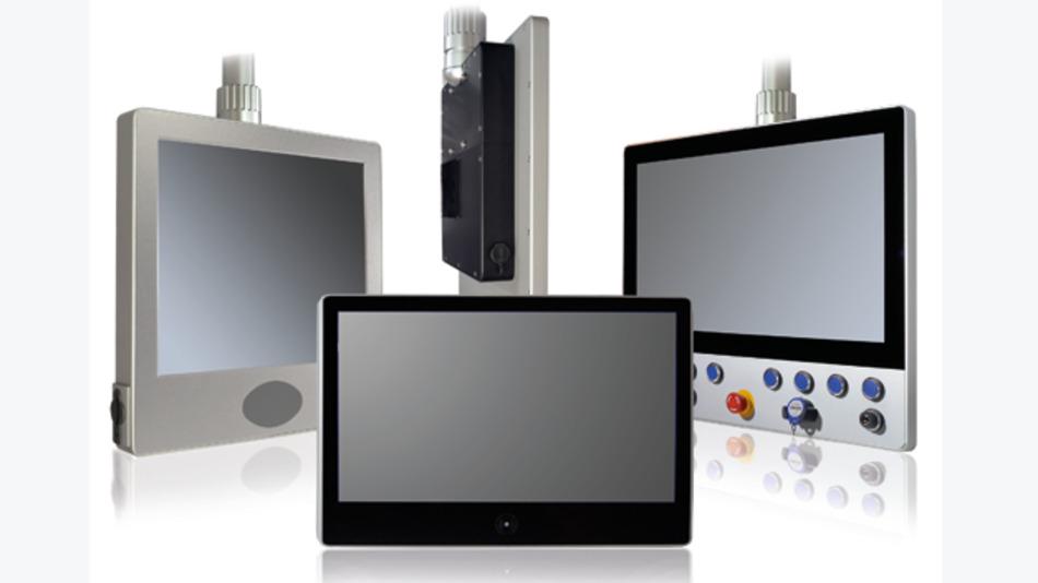 Die Unterschiede zwischen den drei Varianten der S-Line Serie sind hier zu sehen: Unterhalb der Anzeige ist die Front entweder als resistiver Touch, als PCAP-Touch oder mit mechanischen Eingabetasten ausgeführt.
