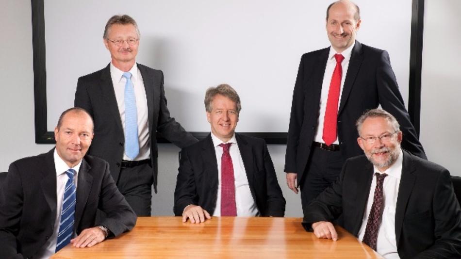 Die Geschäftsleitung von Knick (v.l.n.r.): Gerhard Madl (Leiter Marketing und Vertrieb), Jörg Giebson (Leiter Forschung und Entwicklung), Marcus Knick (Geschäftsführender Gesellschafter), Markus Aschenbrenner (Leiter Produktion und Logistik) und Dr. Dirk Steinmüller (Leiter Geschäftsfeldentwicklung)