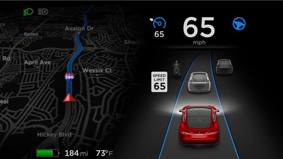 Aktive Sensoren in Kombination mit GPS und hochauflösenden Digitalkarten bilden ein Aggregat sich gegenseitig überwachender Systeme. Dank ihnen kann das Model S Autobahnen auch bei Kolonnenverkehr vollkommen autonom befahren - ohne von der Spur abzuweichen.