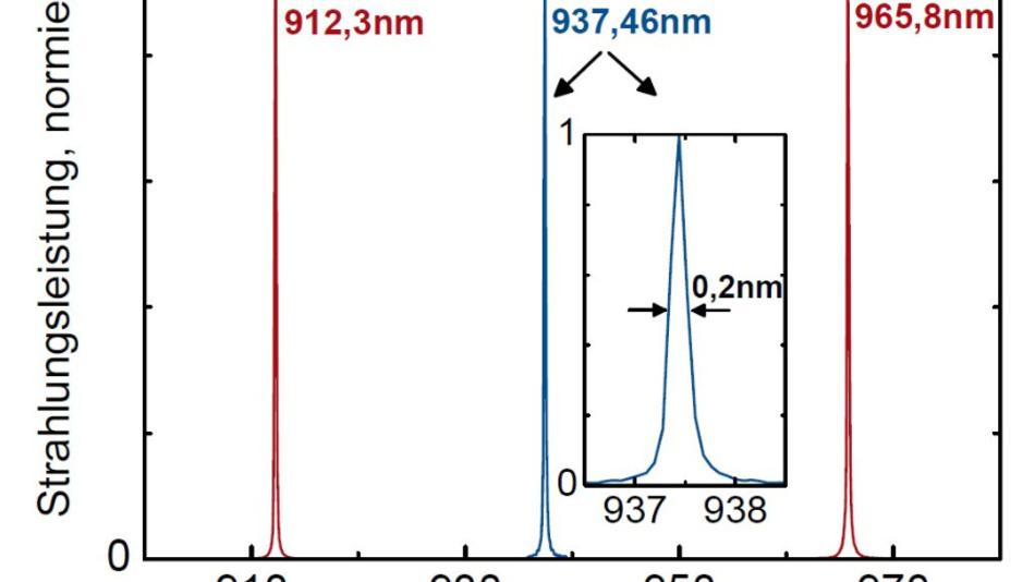 Spektrale Strahlungsleistung ausgewählter Ar- und Xe-Emissionslinien, gemessen mit einem CAS 140CT-HR für den Spektralbereich zwischen 900 und 980 nm und bei einer spektralen Auflösung von 0,2 nm.