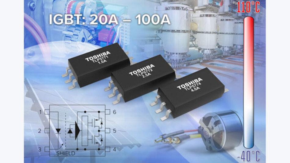 Die Gate-Treiber Optokoppler Serie TLP577x von Toshiba ist für den Betrieb von kleinen (bis 20 A) und mittlere (bis 60 bzw. 100 A) IGBTs geeignet.
