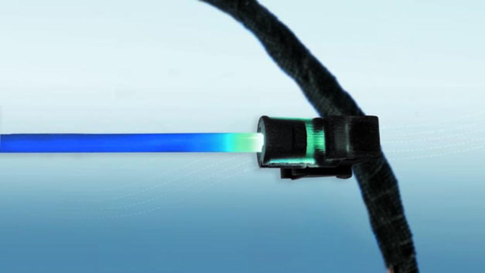 Konzeptstudie von Leoni: Die LED-Komponente ist fester Bestandteil des Kabelsatzes und sorgt für eine optimale Ambientebeleuchtung.