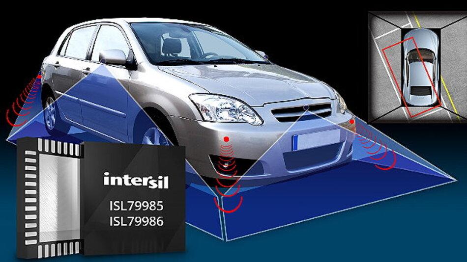 Hochintegrierter ISL79985 erzeugt für Fahrerassistenzsysteme  360°-Bilder in Vogelperspektive.