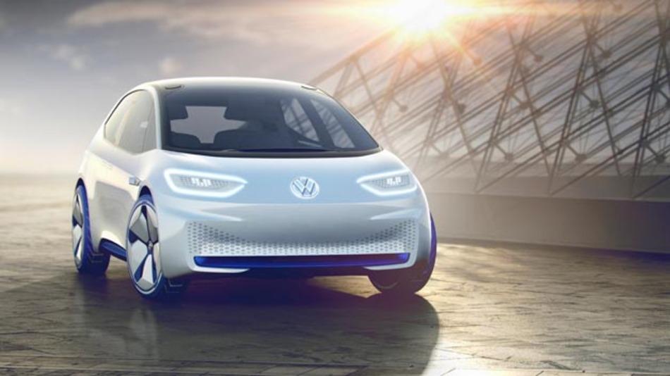 """Und so sieht Volkswagens Revolution aus: Das Showcar I.D. soll als Serienfahrzeug 2020 auf den Markt kommen. 2025 soll es dann über den vollautomatisierten Fahr-Modus """"I.D. Pilot"""" verfügen."""