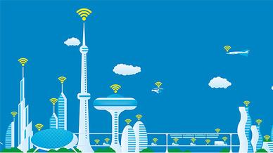 fiktive Skyline mit blauem HIntergrund