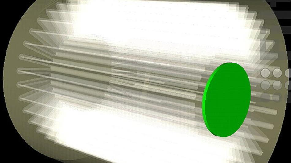 Numerisch berechnete Strömung durch das Filterelement: Stromliniendarstellung der Fluidgeschwindigkeit.