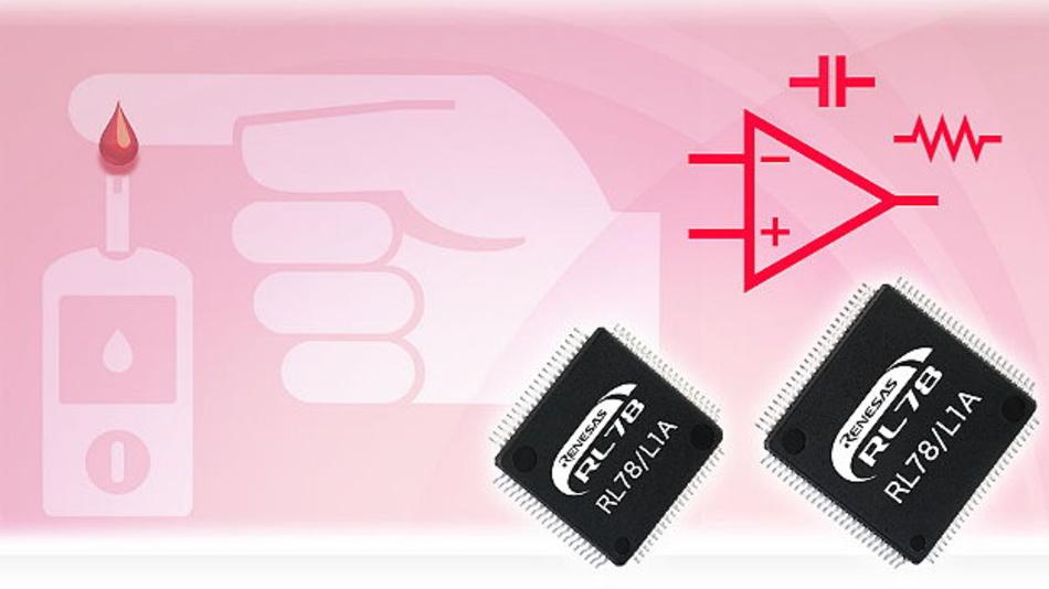 Die neue RL78/L1A Mikrocontroller-Gruppe von Renesas Electronics mit integrierter, präziser Biosensor-Eingangsstufe für Anwendungen im Gesundheitswesen.