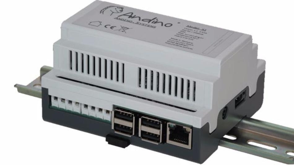 Andino X1: Hutschienengehäuse mit Arduino-kompatiblem Board und Raspberry Pi.