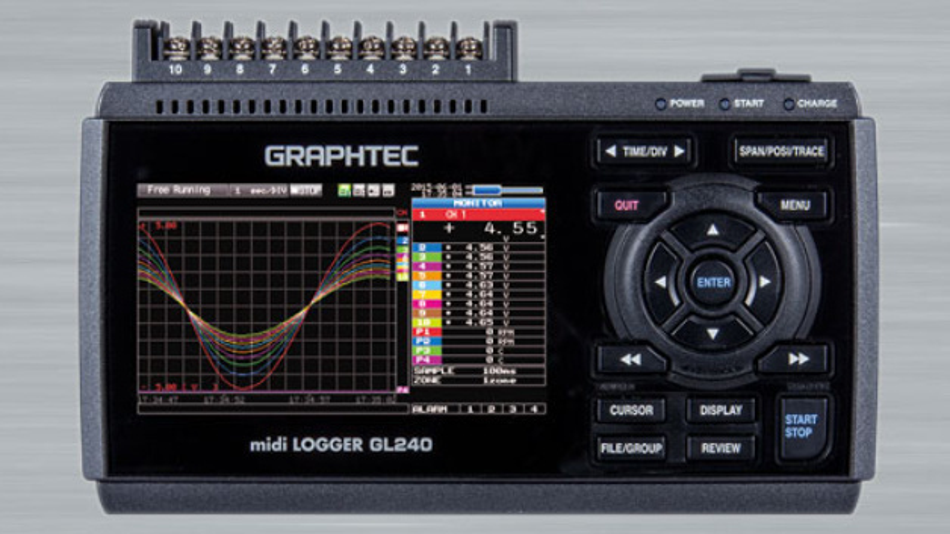 Der Graphtec GL240 eignet sich für die Aufzeichnung von Spannungen und Temperaturen.