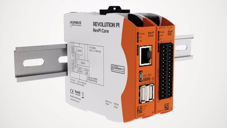 Revolution Pi ist ein Hutschienen-PC mit einem integrierten Rapsberry-Pi-Modul.