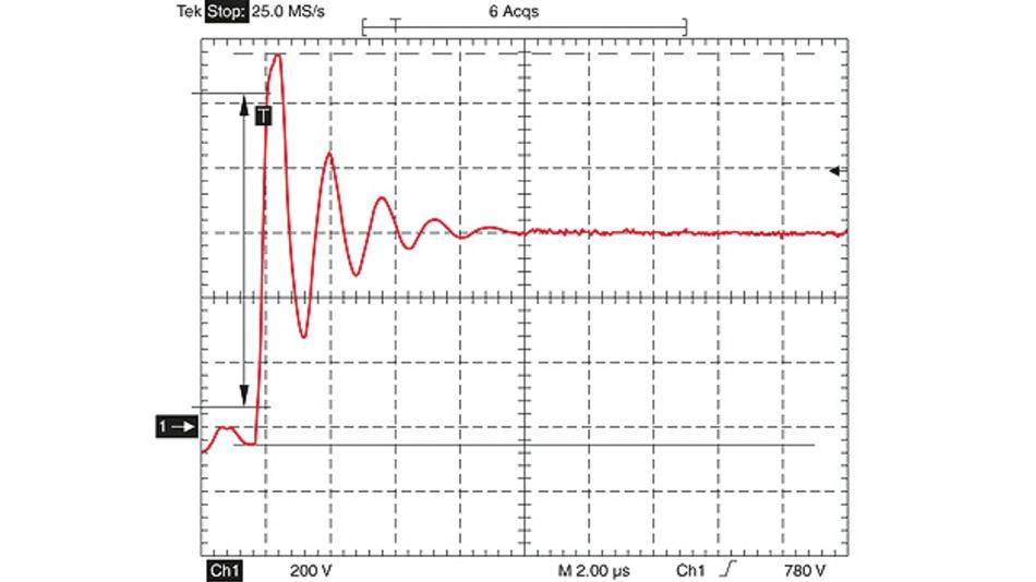 Bild 1. Lange Motorleitungen weisen eine relativ hohe Induktivität auf und verursachen bei steilen Schaltflanken große Spannungsüberhöhungen.