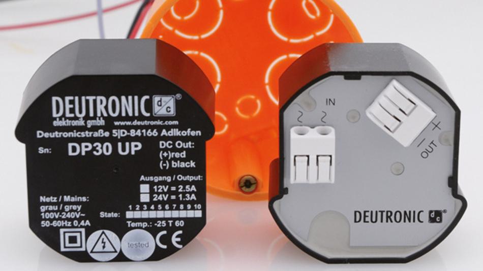 30 W Dauerleistung können die Netzgeräte DP30UP für den Einbau in 60-mm-Unterputzdosen abgeben.